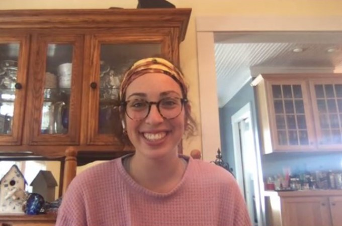 Abbi Fine '21 takes a video call from a friend's grandmother's home in upstate New York, where she is living with the three Bulldogs who would have been her roommates in the Brockton Avenue Apartments this year.
