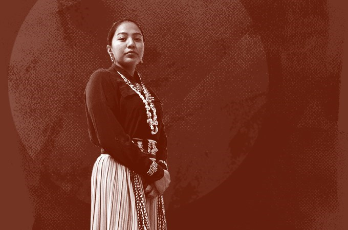 Timara Gordon wears traditional native regalia.