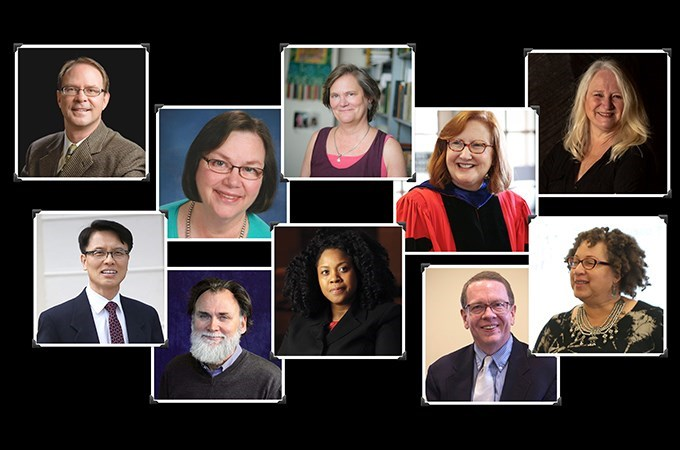 """""""Imagine a kind of 'cloud of witnesses' among this amazing line-up of faculty with whom SFTS students connect,"""" says Marcia McFee (top right)."""