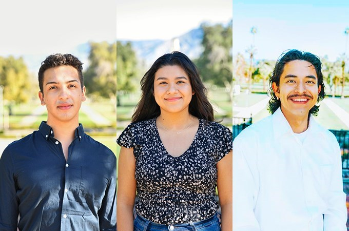 As first-generation ambassadors for the U of R Study Away Office, Ricky Gonzalez '21, Melina Estrada '23, and Kevin Reyes '21 (left to right) are addressing gaps in the study away experience for first-generation college students.