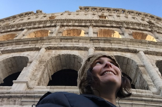 """""""As a film and media studies scholar, I recognized that there were important conversations that needed to take place [about study abroad] that weren't happening,"""" says Professor Kelly Hankin, shown here visiting Rome."""