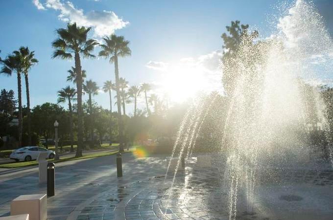 Hunsaker plaza fountain facing Colton Ave