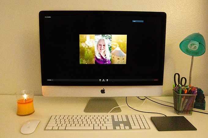 """""""My students, especially in my ritual studies course, came up with some very innovative ways to acknowledge rites of passage,"""" says Visiting Professor of Liturgical Studies Marcia McFee, shown here at the 2020 virtual commencement of the U of R Graduate School of Theology. (Photo by Effie Lyskawa)"""