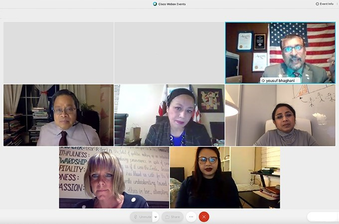 Panelist Yousuf Bhaghani (top right) speaks during a School of Education webinar about Muslim culture and Islamophobia.