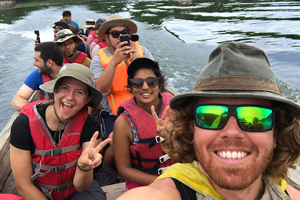 Students on a boat in Panama