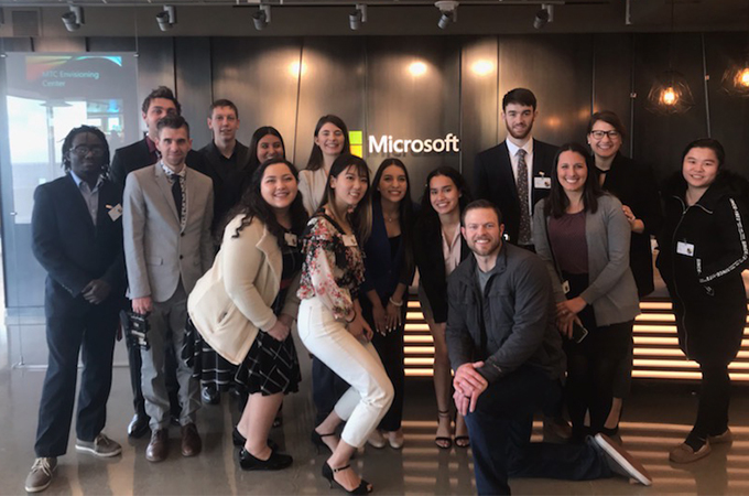 U of R students tour Microsoft headquarters last month with Senior Product Marketing Manager Patrick Thomas '05.