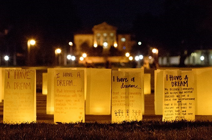 In honor of the speech that Martin Luther King Jr. gave in 1963, students, faculty members, and staff wrote their dreams on paper bags that were then used as lanterns and placed in the Quad on the main campus during a week of events that celebrated the activist's life and work. (Photo by Coco McKown '04, '10)