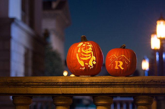 "Carved ""University of Redlands"" themed Halloween Pumpkins"