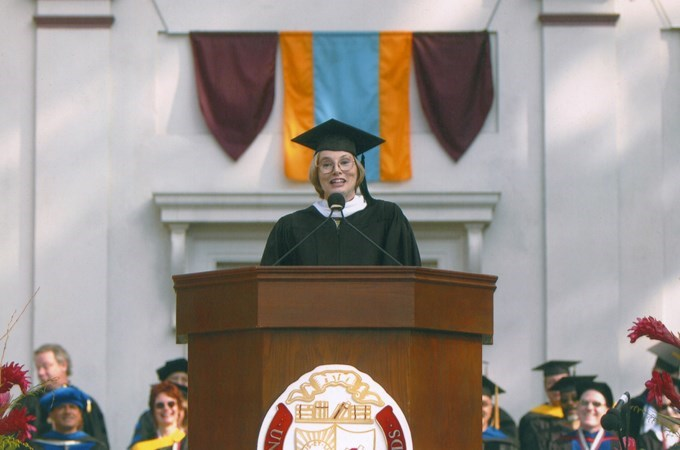 """The better communicator will be the one who gets noticed—and will be seen as a leader,"" says Rosanne O'Brien '78 at her keynote speech at the 2004 School of Business commencement ceremony. (Photo courtesy of Tina Vince)"