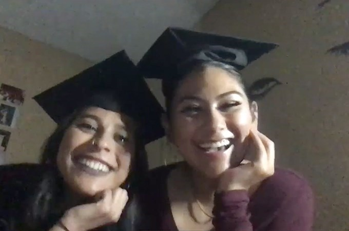 College of Arts and Sciences graduates Aimee Carrillo '21 (left) and Bianca Lopez Villa '21 celebrate Commencement together during a virtual event for first-generation students.