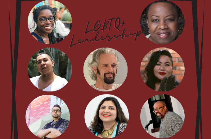Students in the LGBTQ+ Leadership Certificate program listen to a wide variety of speakers, including (from top left to bottom right): Rev. Annanda G. Barclay, Bishop Tonyia Rawls, Jose Richard Aviles, Dr. Donovan Ackley III, Candi Brings Plenty, Ted Lewis, Urooj Arshad, and Rev. Louis Mitchell.