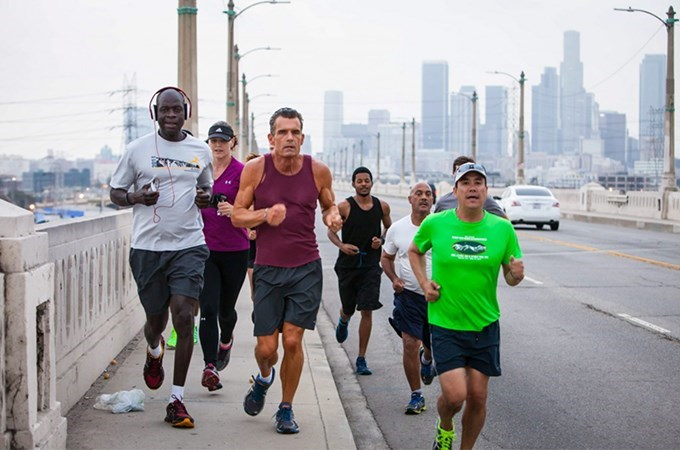 """""""Everybody has a backstory,"""" says Los Angeles Superior Court Judge and Skid Row Running Club Founder Craig Mitchell (center). """"It's important to take the time to learn that backstory. All of us understand that fundamental need—to be cared for, to be loved. Running is secondary."""""""