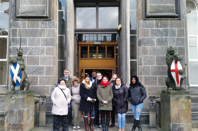 U of R students and faculty members stand outside the University of Aberdeen after meeting with Scottish counseling students and professors. Shown here are (left to right): Nora C. Alvarez-Padilla '19, Professor Rod Goodyear, Katherine Paul '19, Kayla R. Daniels '18, '20, Professor Conroy Reynolds, Kailey M. Crabtree '19, Alyssa N. Dialynas '19, Jaclyn M. McCready '20, Christina Lopez '19, and Naoje S. Williams '20.
