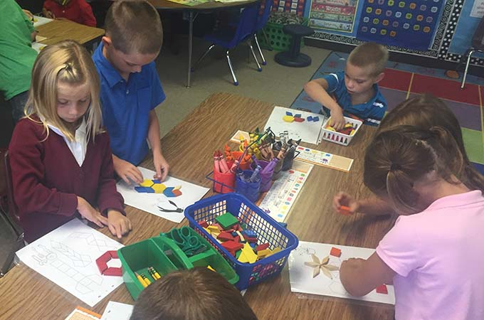 Children working on spatial learning projects