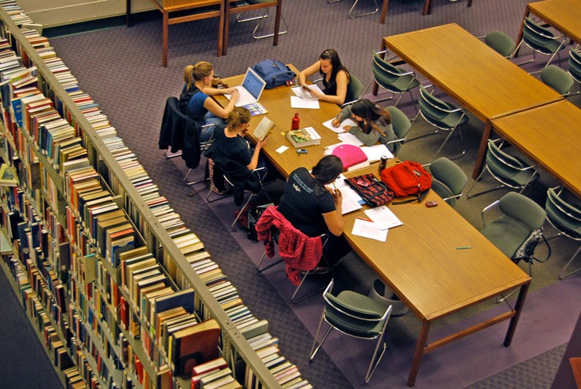 Students Studying in Armacost Library
