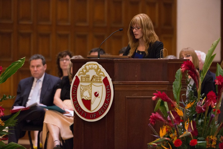 Women speaking at Honor's Convocation 2015 in Memorial Chapel.