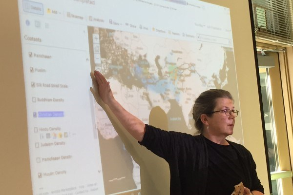 Professor Lillian Larsen demonstrating GIS