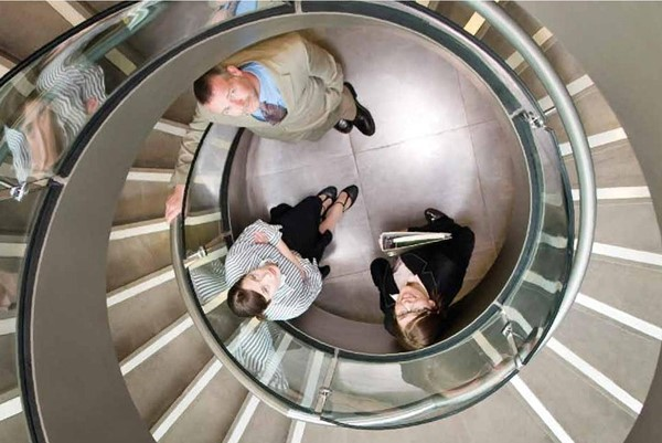 Students on spiral staircase