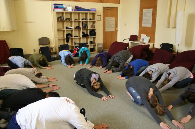 Students in the REL 101 course begin each class session with a contemplative practice related to the day's reading.