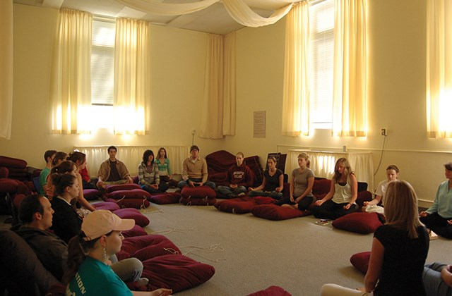Students meditating