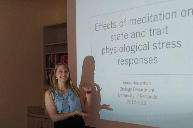Anne Heuerman presents her Honors Thesis in Biology on meditation.