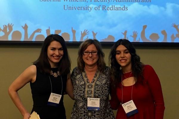 Nadine Abu-Seraj with advisors Kristen Grammar and Sabrina Wilhelm