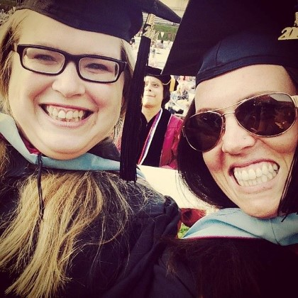Rachel ReHage and a friend at commencement