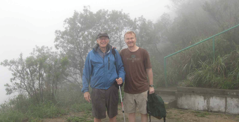 James Pick Hiking in Hong Kong with Professor Dean Tjosvold