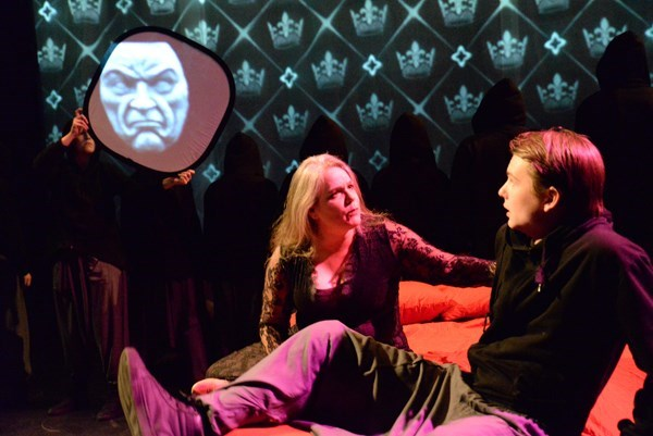 Dr. Heather King and Alex Bueermann portraying Hamlet and Gertrude