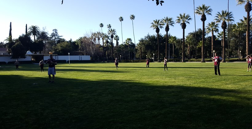 Playing kickball