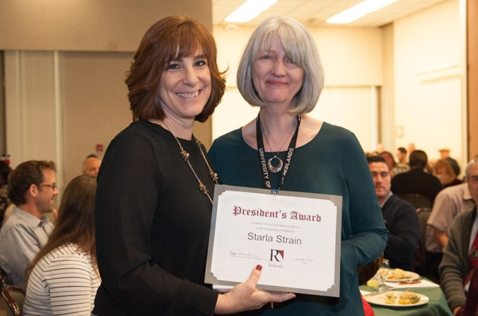 President's Award-winner Starla Strain (right) is department coordinator for the Department of Political Science and the Public Policy Program.