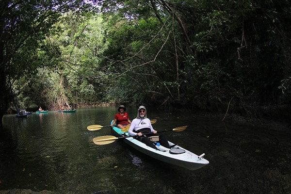 Professor Monty Hempel and Leah Bolin '17 kayak through the backwaters of Risong Bay. (Photo by Ron Leidich)