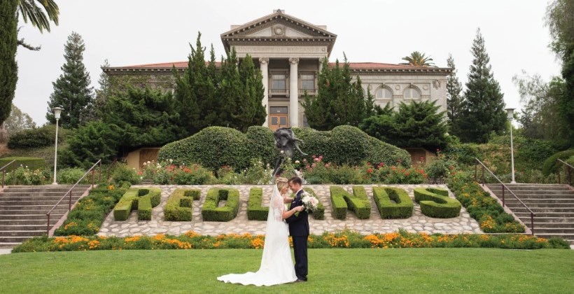 Bride and groom on Admin lawn