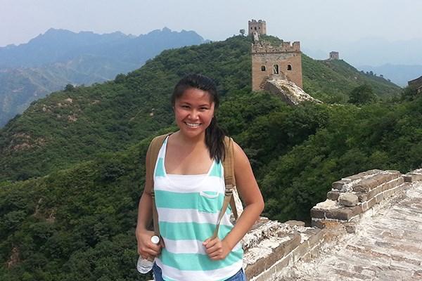 Student at the Great Wall of China