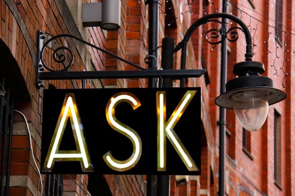 "Store sign that says ""Ask"""
