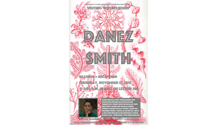Danez Smith poetry reading event flier